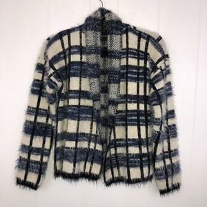 La Fee Verte Fuzzy Plaid Cardigan XS